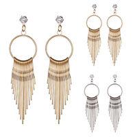 Fashion Alloy Crystal Geometry Design Long Tassels Dangle Ear Stud Earrings New