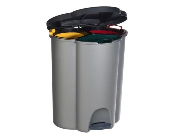 Dreifach Abfalleimer Recycling Mülleimer Mülltrenner Öko sammler 40L Curver