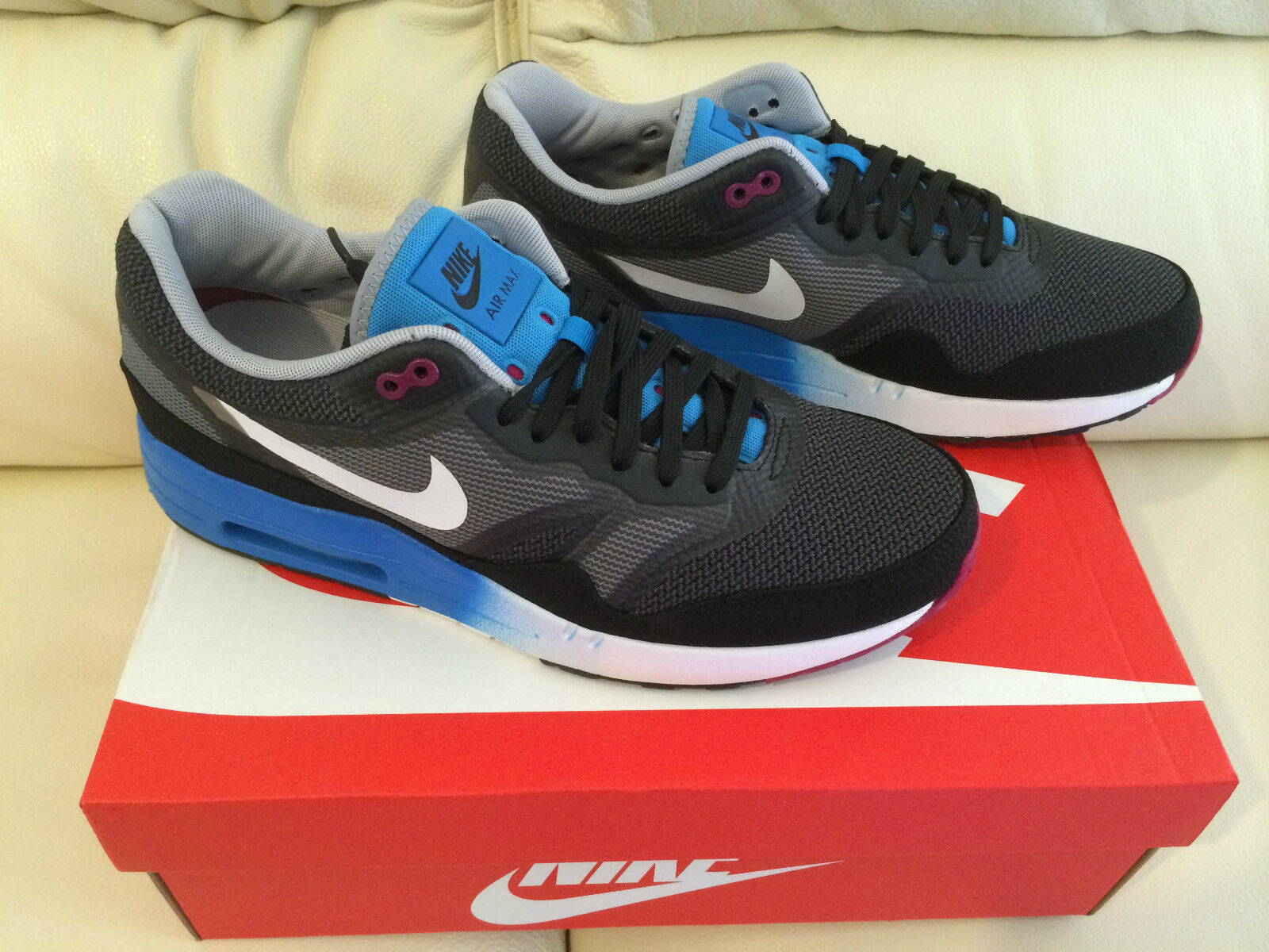 NIKE AIR MAX 1 C2.0 TRAINERS Schuhe UK 8 & 10.5 BLACK Weiß Blau NEW