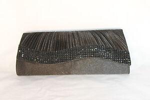 Beautiful Black Evening Clutch Purse with Black Rhinestone Wave EB1122 105