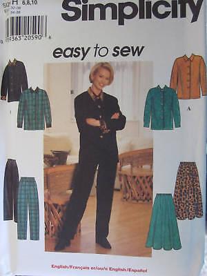 7238 UNCUT Simplicity SEWING Pattern Vintage Misses Pants Skirt Top OOP FF NEW