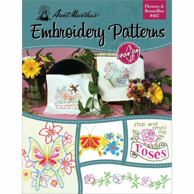 Aunt Marthas Flowers And Butterflies Embroidery Transfer Pattern