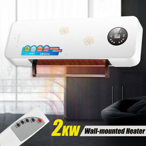 New-Remote-Control-Electric-Wall-Mounted-Fan-Heater-Warm-Cold-Air-LED-Screen