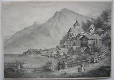 Hallstatt Salzkammergut Hallstätter See Orig Lithographie 1840 Oberösterreich