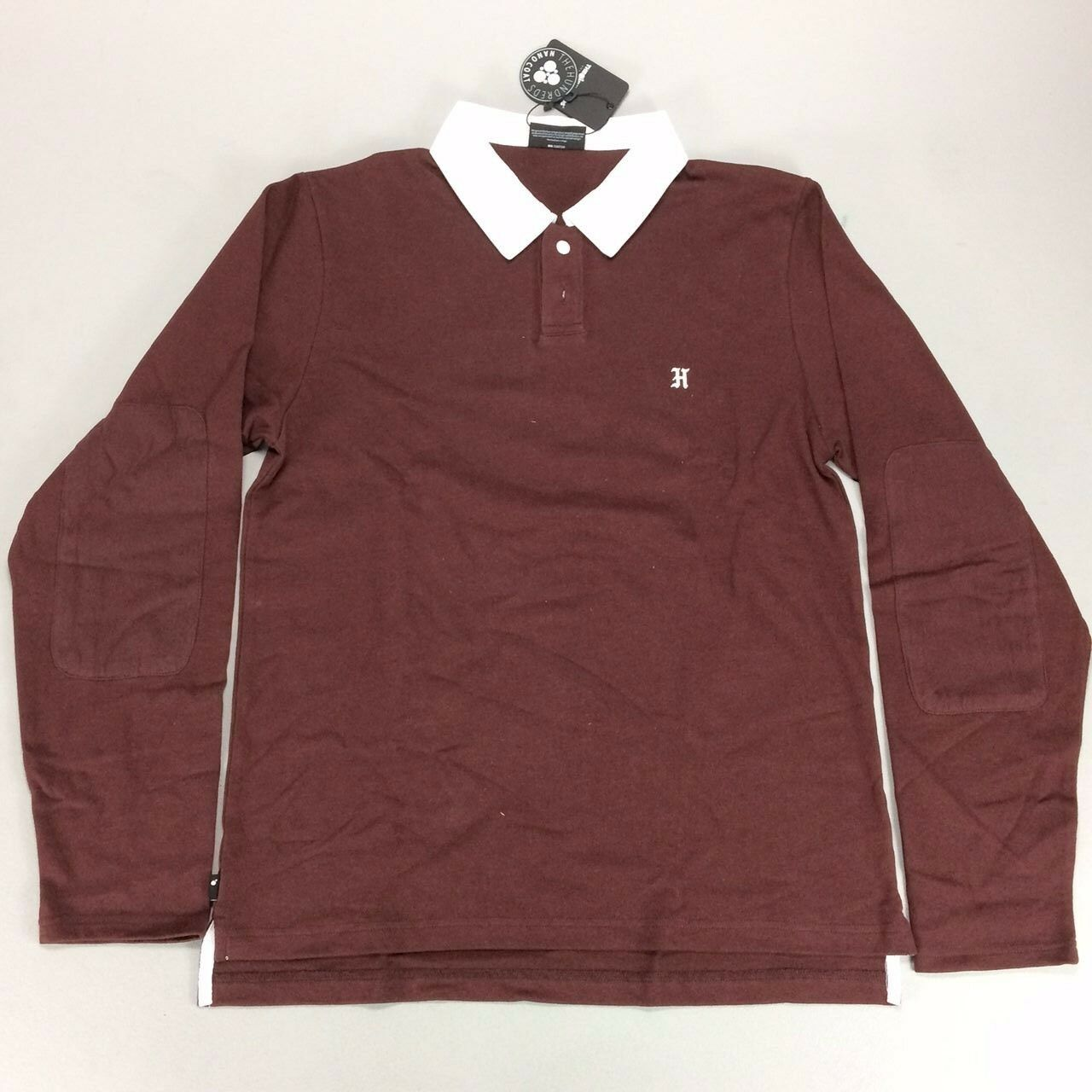 The HundROTs Valour LS Rugby Polo Long Sleeve T-Shirt In Burgundy Größes S L