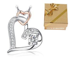 Edler-Herzanhaenger-Halskette-Echt-925-Silber-Herzkette-Damen-Frauen-Geschenk