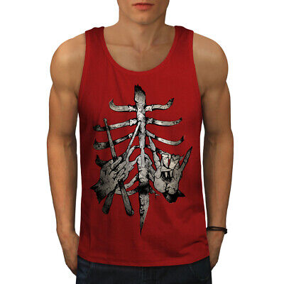 Wellcoda Poker Cards Skelet Mens Tank Top Ribcage Active Sports Shirt