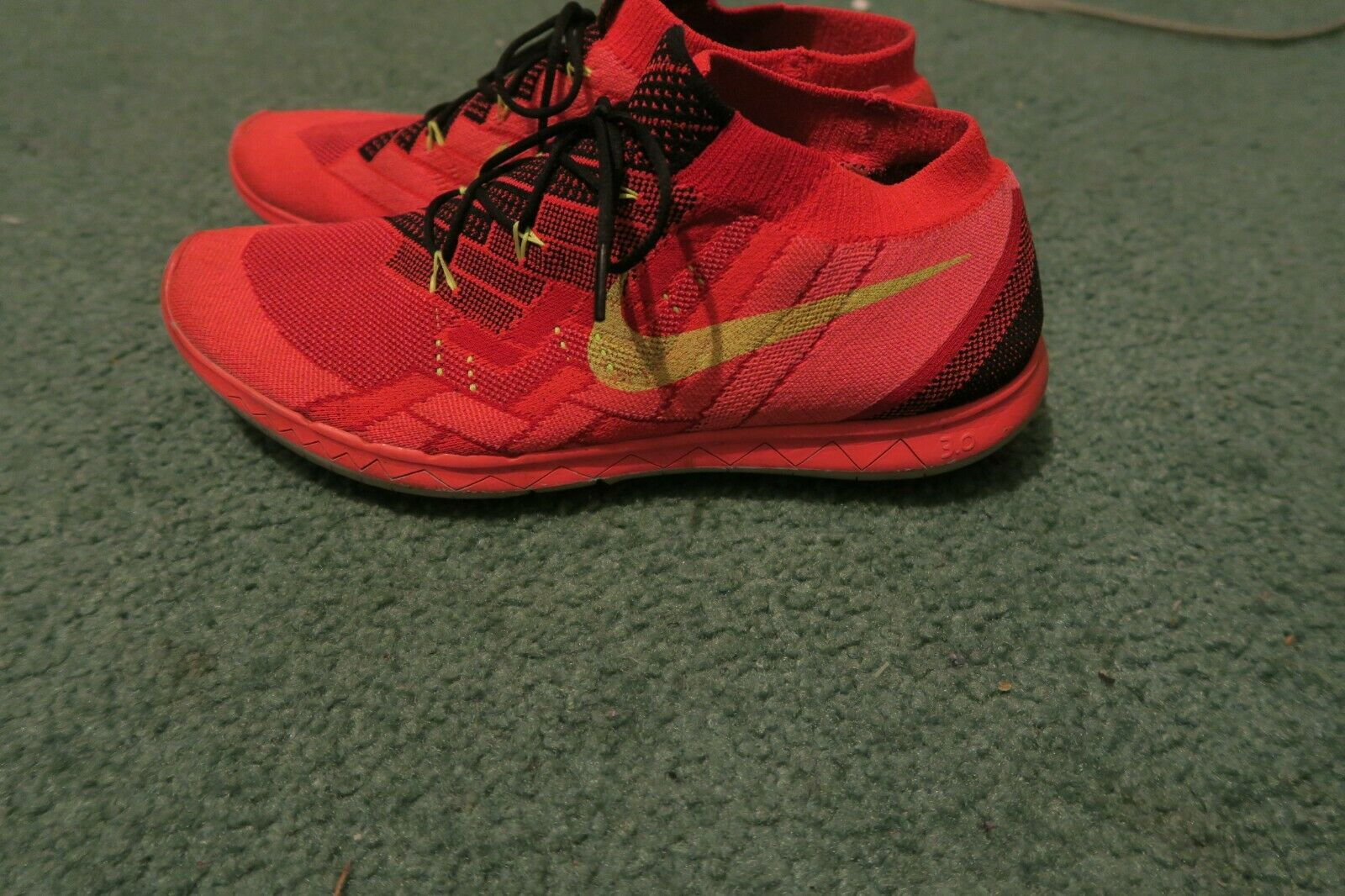 Nike Free 3.0 Flyknit Running shoes University Red 718418-006  Men's Size 12