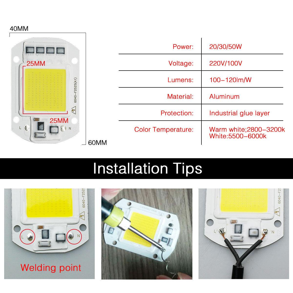 High Power COB LED Chip 20W 30W 50W Warmweiß LED DIY Flutlicht Scheinwerfer 220V 3
