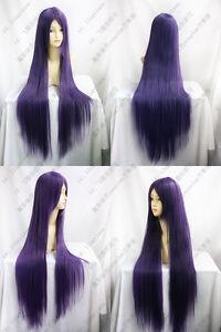 New-Long-Dark-Purple-Cosplay-Straight-Wig-Hair-100cm