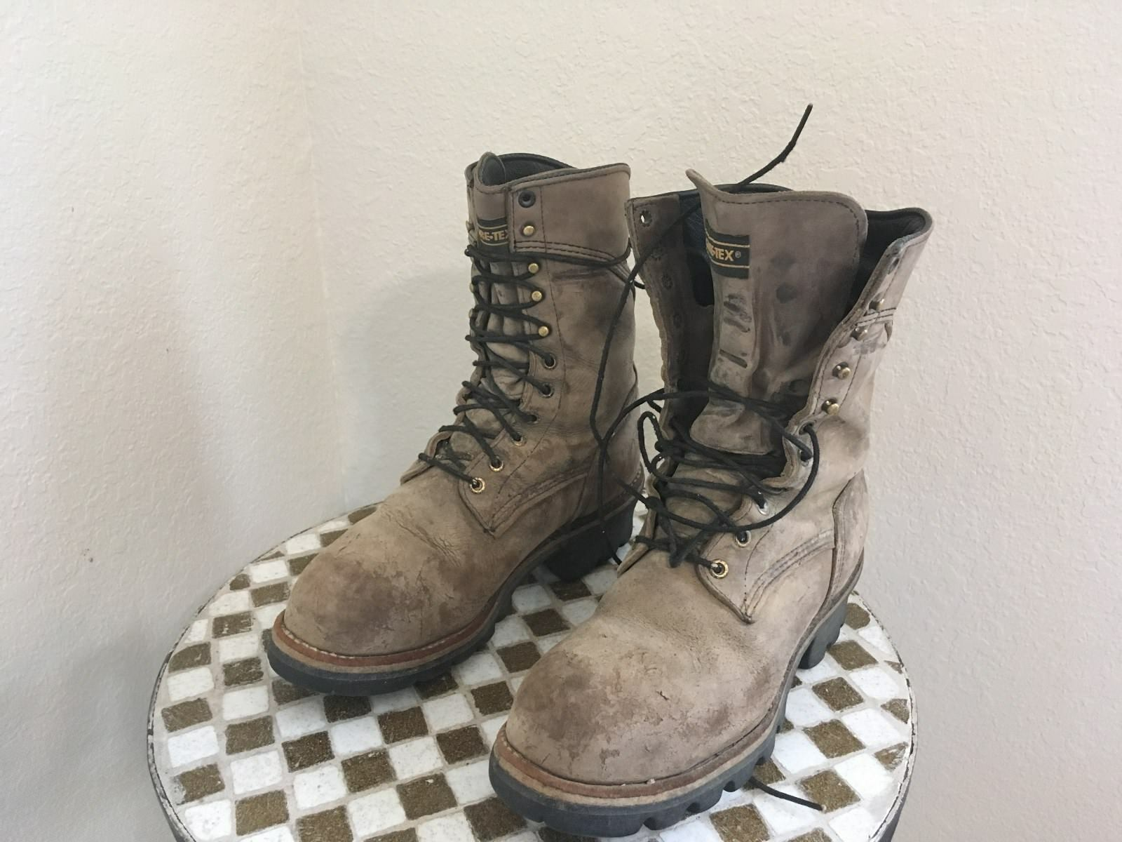 STEEL TOE USA VINTAGE DISTRESSED BLONDE ROSSO WING CHORE LOGGER WORK BOOTS 8.5 D