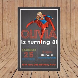 Image Is Loading Personalised SUPERGIRL Party Birthday Invites Invitations DIGITAL YOU