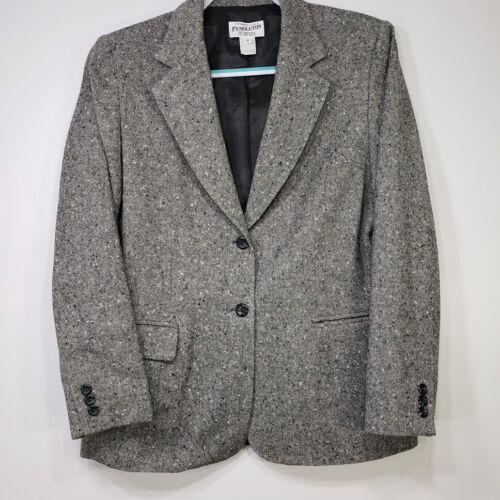 Pendleton Women's Blazer 12 Gray Tweed Virgin Wool