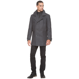 Men's Marc NY by Andrew Marc Mulberry Wool Coat Charcoal L  NKTU1-1058
