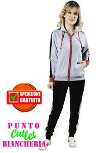 Zip O Tuta Nazareno Full Cotone sd610 Art Donna Grigio Gabrielli Felpato Rossa qYw8Fqx