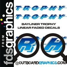 Pair of 6ft long Bayliner Trophy sticker/decals - light to dark blue fade