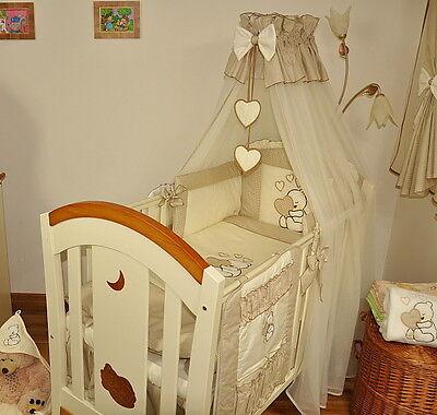 7 pcs BABY BEDDING SET/BUMPER/DRAPE/HOLDER fits to COT 120x60cm