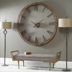 INDUSTRIAL-SIZE-60-034-HAMMERED-COPPER-SHEETING-ROUND-WALL-CLOCK-NUMBERS