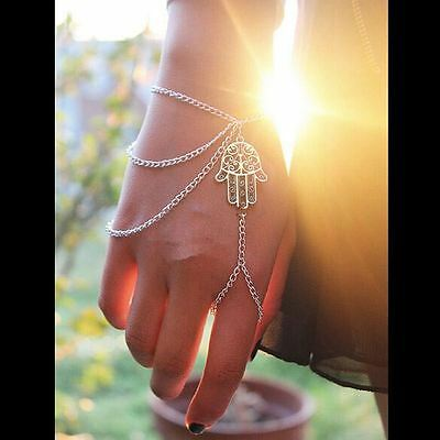NEW handlet Hamsa hand charm Bracelet with ring Slave chain - Antique silver