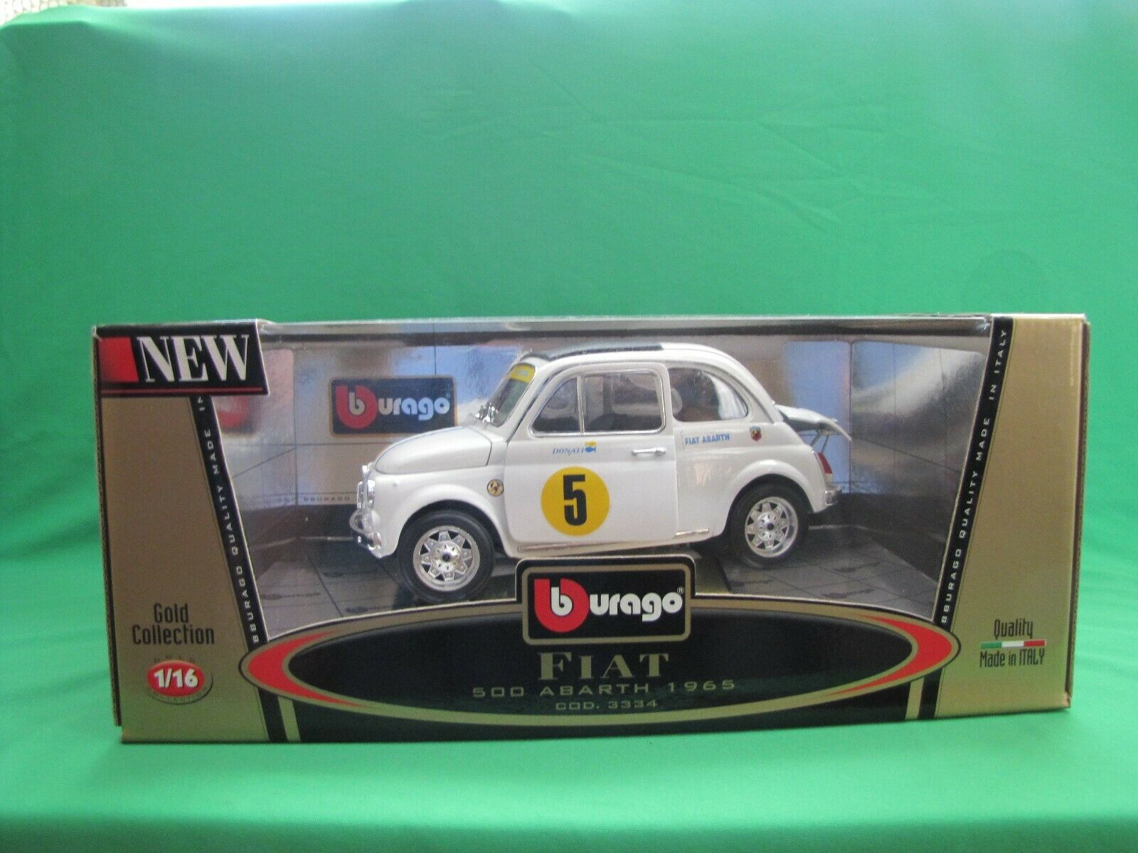 BURAGO FIAT 500 ABARTH 1965 gold COLLECTION 1 16