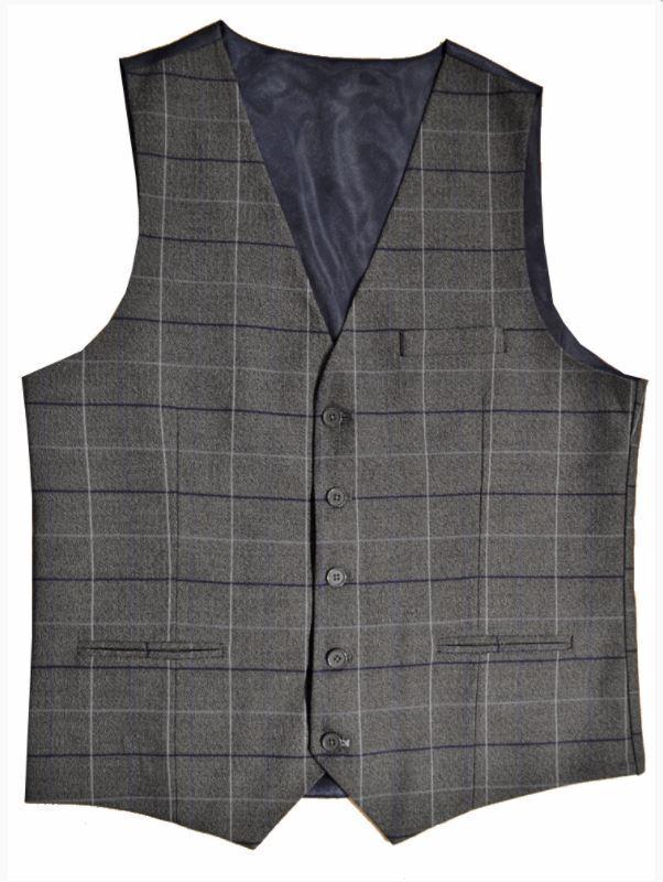 Grey Check Tweed Slim Fit Waistcoat Style WW133/1 Sizes 36