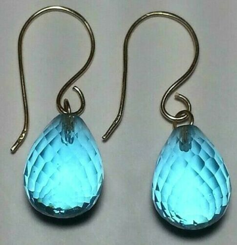 Details about  /14K SOLID YELLOW GOLD HANDMADE TEARDROP EARRINGS FACETED QUARTZ JEWELRY