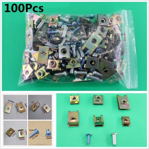 100X Mixed Car Fastener Fixed Screw U Type Gasket Clip For Car Door//Panel//Fender