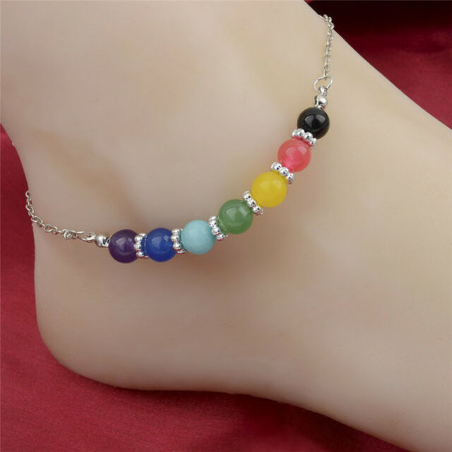 Jewelrys Seven Chakra Seven Colors Crystal Agate Jade Beads Metal Anklet HU