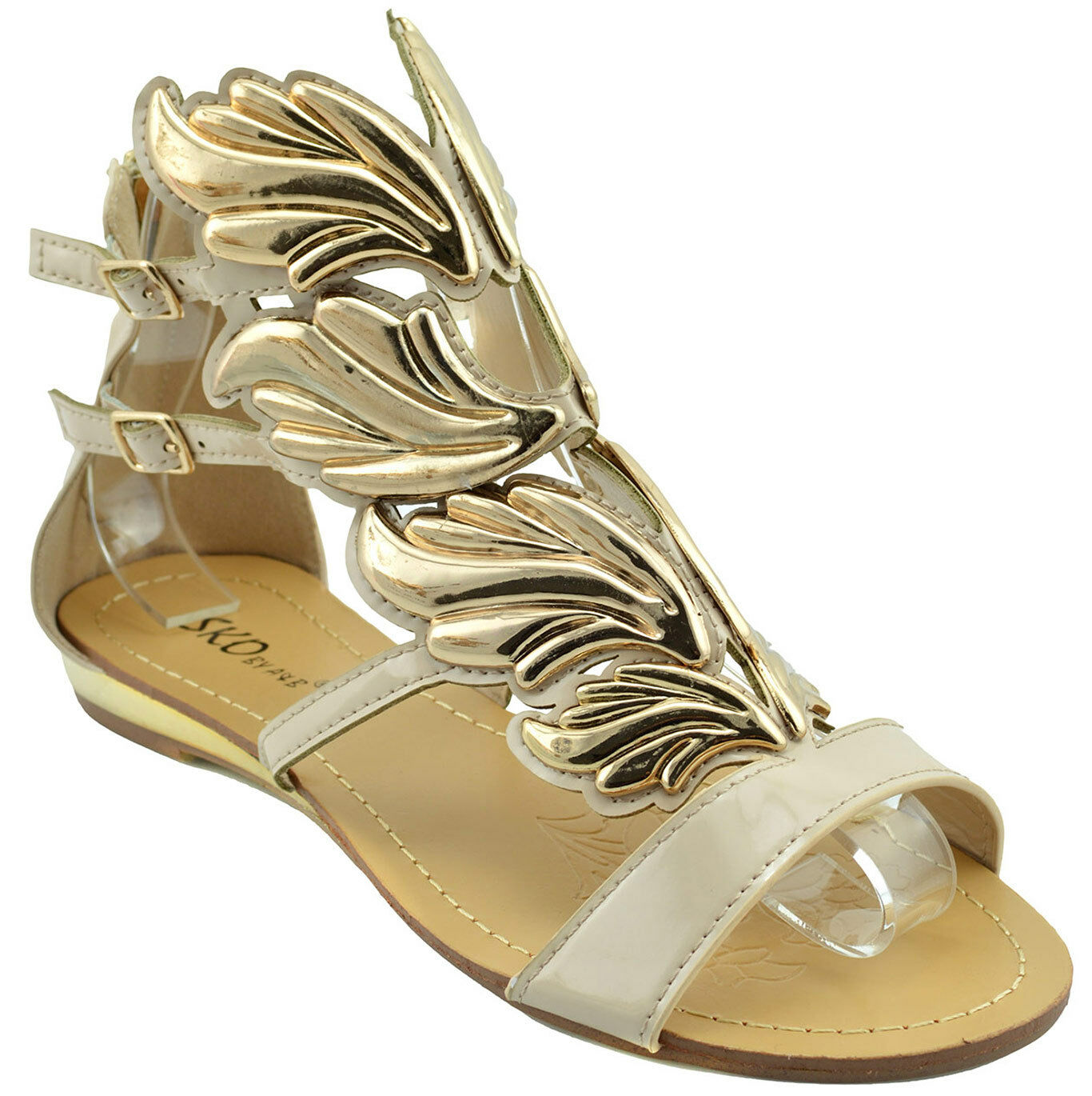 120 Beige Gold HERMES WINGS Fashion Damens Schuhes Sandaleen Flats NEW COLLECTION