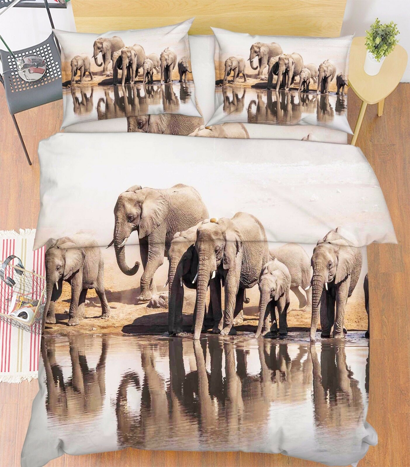 3D Elephants 017 Bed Pillowcases Quilt Duvet Cover Set Single Queen King Größe AU
