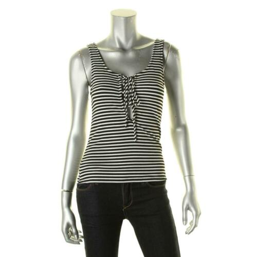 Vintage Havana Womens Striped Lace-Up Ribbed Knit Tank Top Shirt BHFO 2792