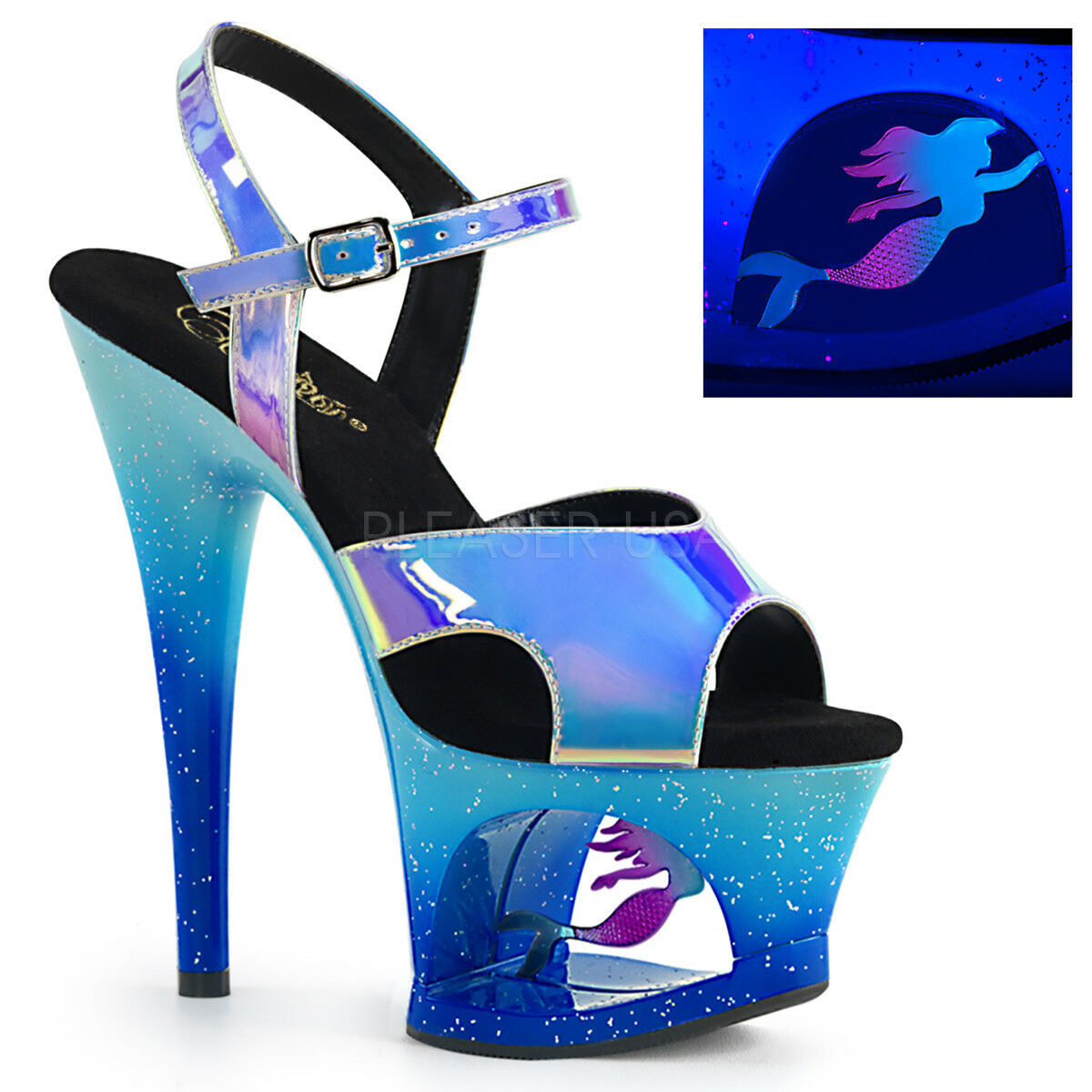 Pleaser MOON-711MER blu Shifting Ombre Mermaid Cut-Out Platform Sandals Heels
