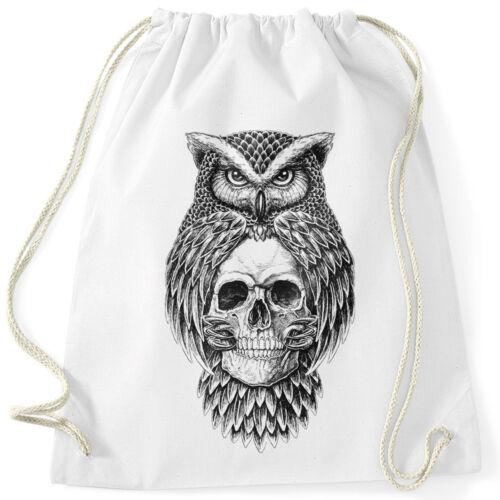 Turnbeutel Eule Totenkopf Owl Skull Schädel Hipster Beutel Tasche Gymsac Autiga®