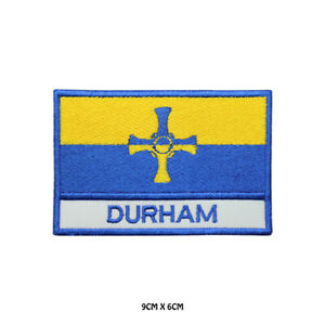 DURHAM County Flag With Name Embroidered Patch Iron on Sew On Badge
