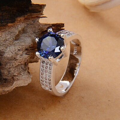 925 silver Sapphire & clear Topaz fashion women Men Wedding Rings Jewelry sz6-9