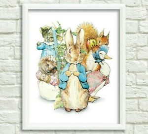 Peter Rabbit Decoración Infantil, vivero de Beatrix Potter Arte, estampado de animales de vivero