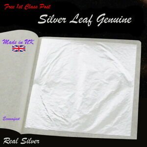 Silver-Leaf-Genuine-100-Real-Silver-Large-Size-Qty-25-x-9-5CM-x-9-5CM-Sheets