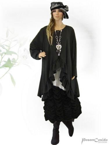 PoCo DeSiGn LAGENLOOK Tunika Long Shirt Jacke schwarz XL-XXL-XXXL 48 50 52 54 56