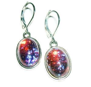 Image Is Loading Czech Dragons Breath Mexican Opal Earrings Silver Plt