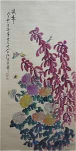 Excellent-Chinese-100-Handed-Painting-amp-Scroll-034-Flowers-034-By-Qi-baishi-AW5