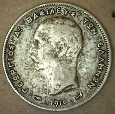 1910 A Greece Silver Drachma KM# 60 Coin Mythological Thetis on Sea Horse
