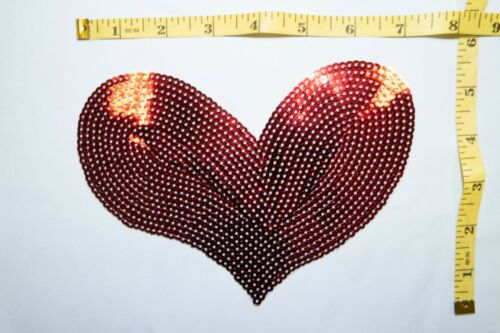Red Sequin Heart Applique #06 Iron-On Red Heart Patch for Clothing and Crafts