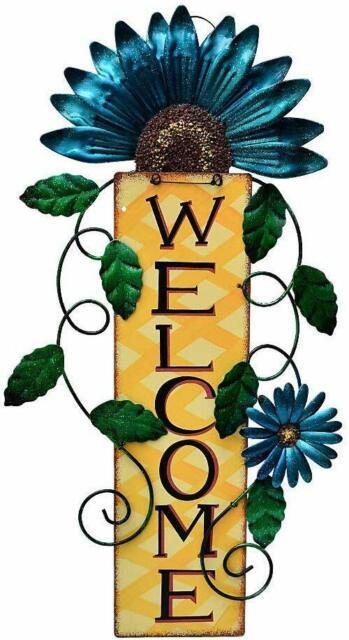 METAL WELCOME SIGN GARDEN DECOR BACKYARD BIRDS WELCOME SIGN