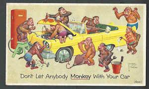Ca 1950 Sunoco Prestone Antifreeze Svce No Monkeying Around Artist Signed