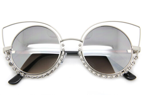 Cat Eye Women Fashion Sunglasses Mirrored Lens Round Oversized Frame Diamonds