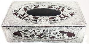 Silver Tissue Box Indian Decor Home Hotel Cover Paper Napkin Holder