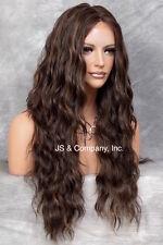 Wavy Lace Front Wig HEAT SAFE Long Brazilian Brown Auburn mix Side Part WzP 4.30