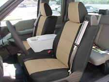FORD F-150 04-08 S.LEATHER FRONT CUSTOM SEAT COVER BUILT IN SEATBELT BLACK/BEIGE
