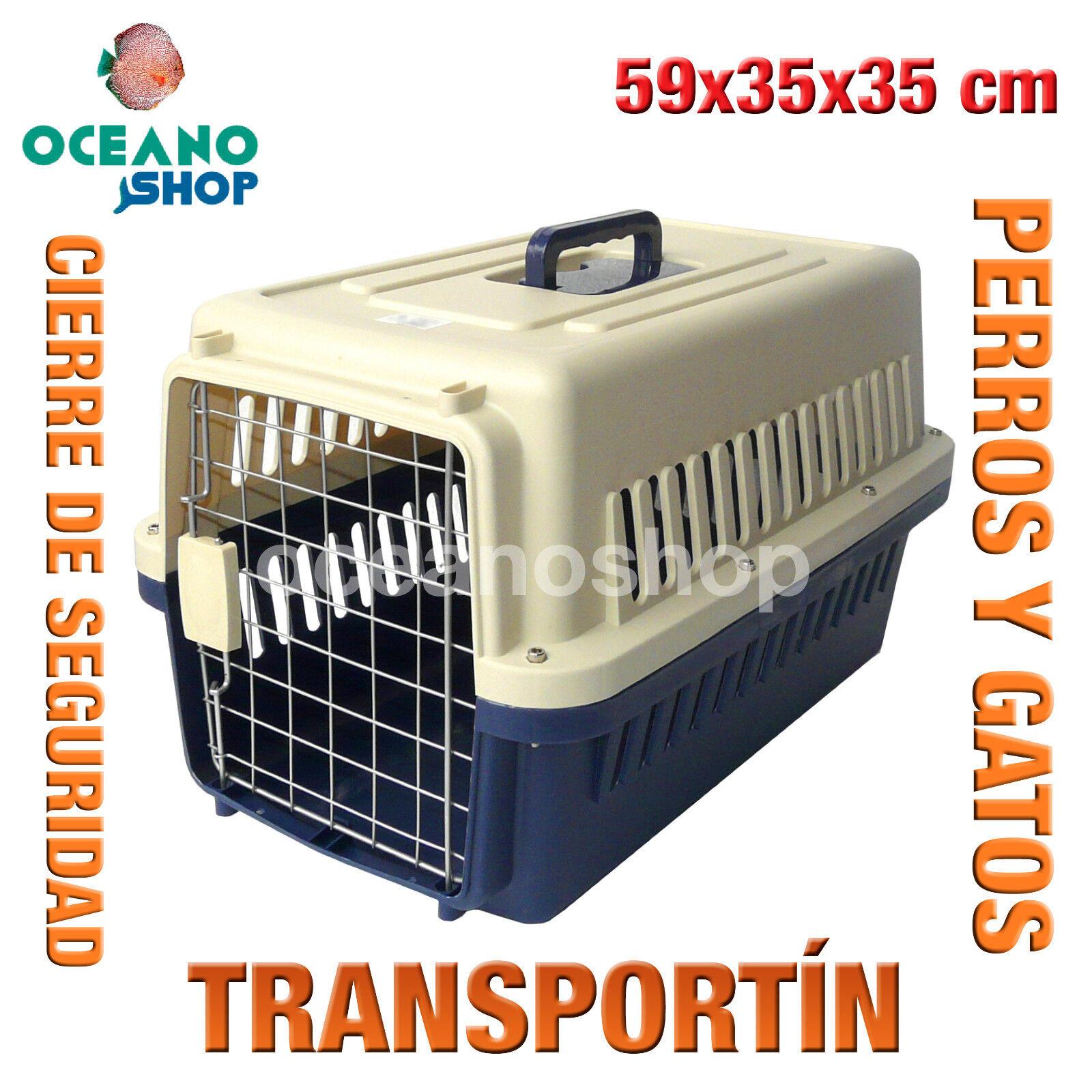 TRANSPORTIN PERROS Y GATOS PLASTICO CALIDAD CIERRE Y ASA 59x35x35 cm D530...