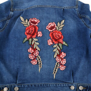 2-x-Rose-Flower-Embroidered-Patch-Sew-Applique-Badge-for-Dress-Craft-Clothing
